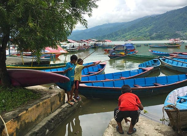 Boys fishing in Lake Fewa, Pokhara