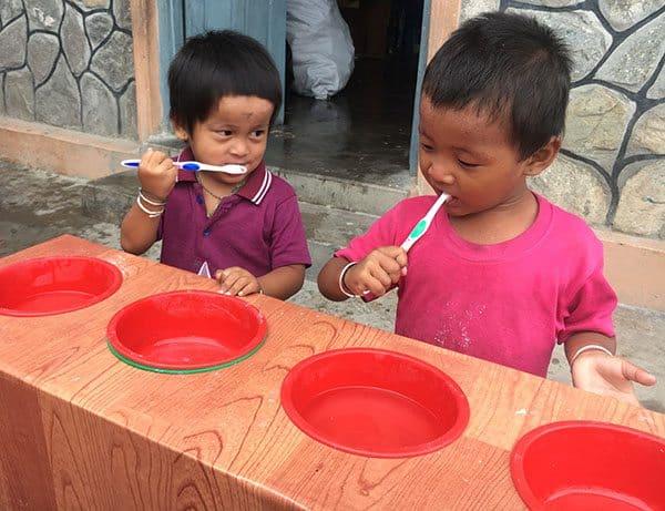 Teaching kids in Nepal