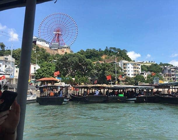 Boats leaving Ha Long bay