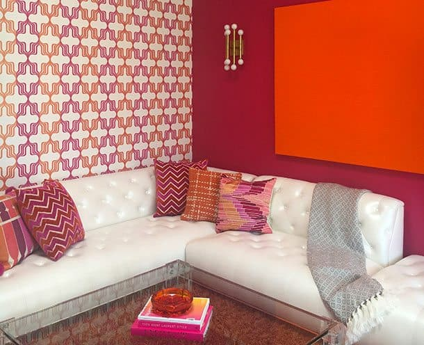 Orange and pink guest lounge