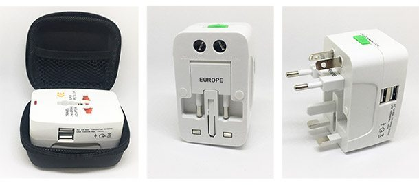Universal power adapter with 4 different adapters and 2 USB ports