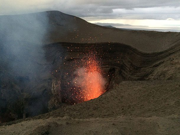 Lava spewing from mt yasur