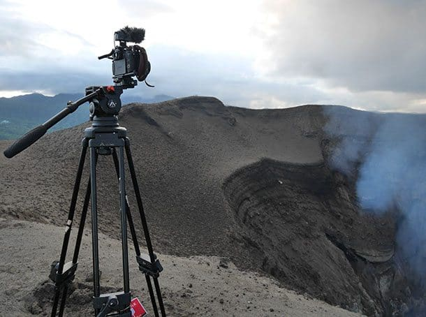Camera on edge of volcano