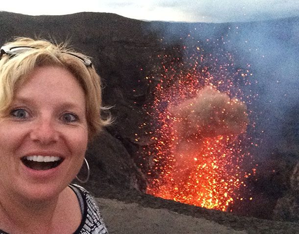 Megan selfie at volcano