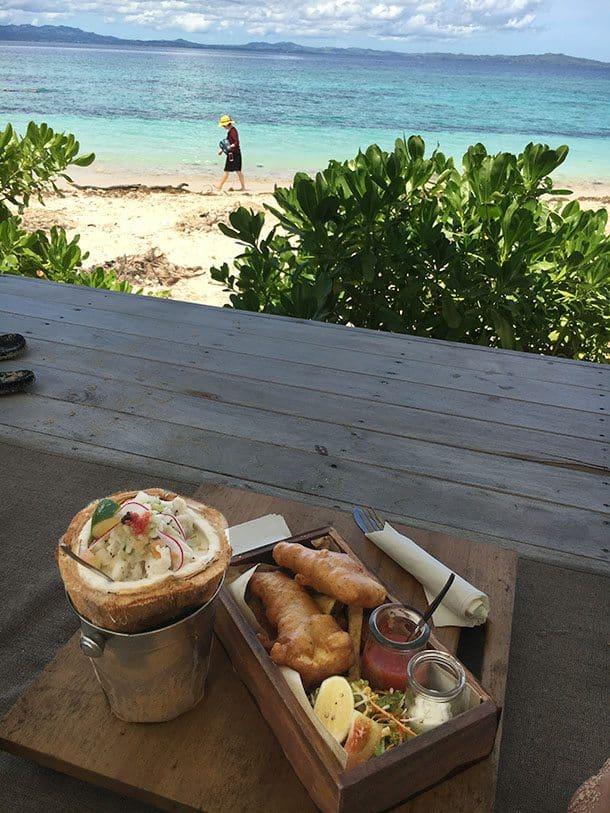 Scorched coconut kokoda