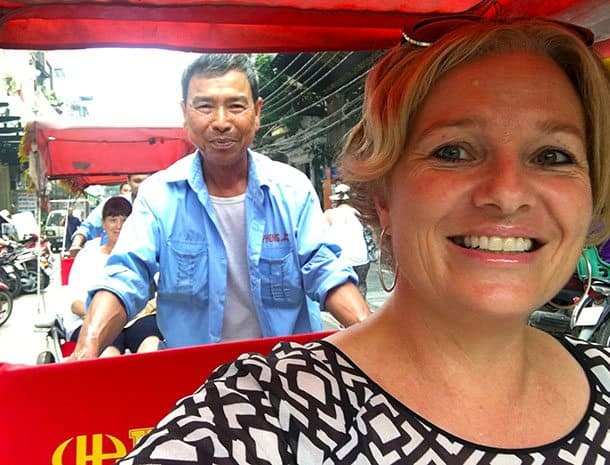 Megan on cyclo in Hanoi