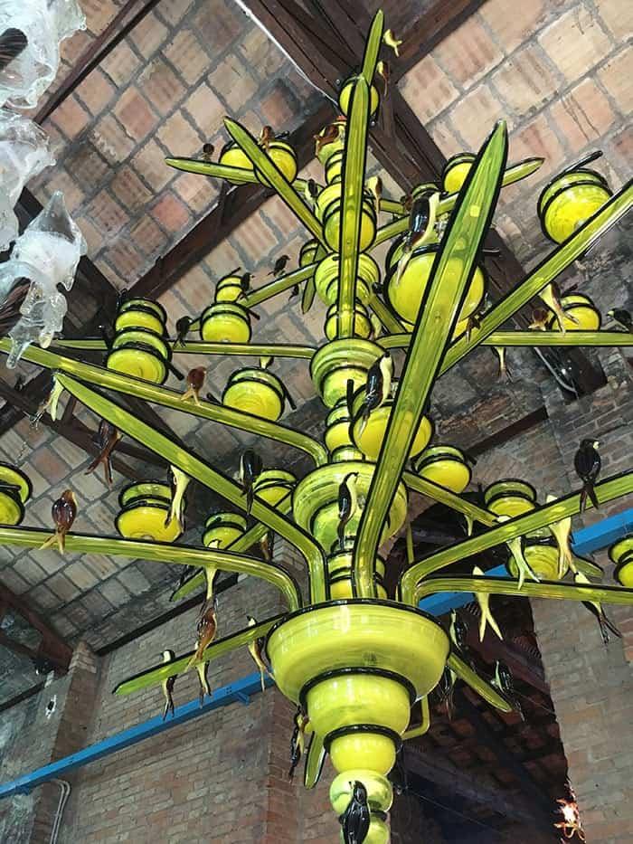 Murano chandelier with glass birds