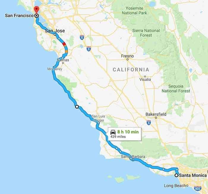 LA to San Francisco road map