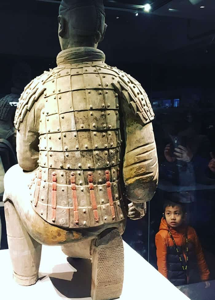 Terracotta warrior archer and child