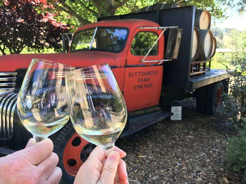 Cheers at Buttonwood Farm Vineyard Santa Barbara