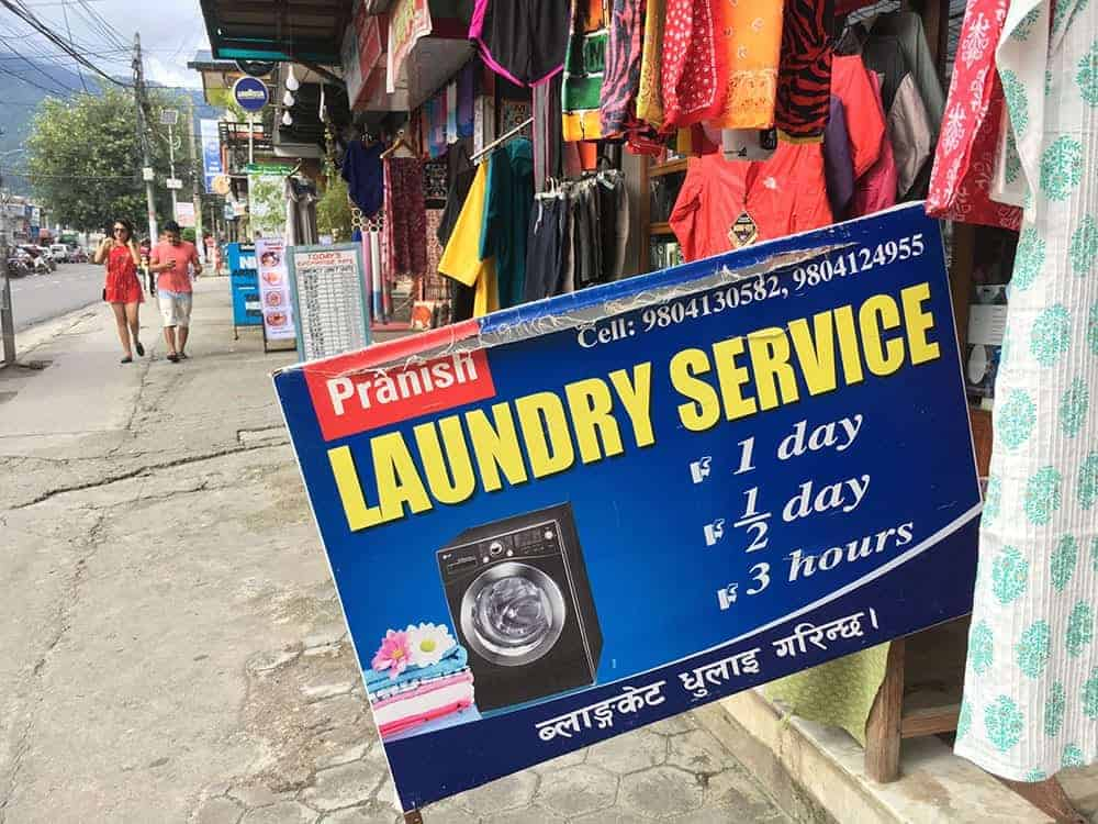 Laundry sign in Pokhara