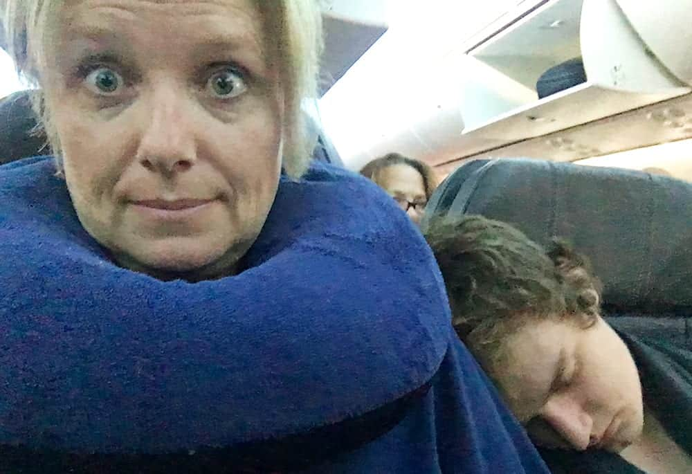 travel pillow on plane