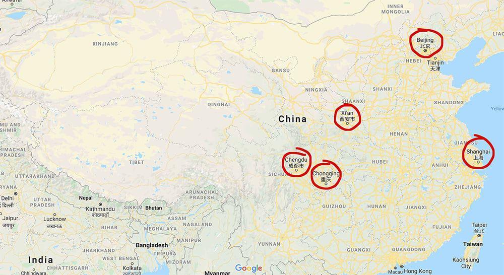 Map of China focusing on Beijing, Xi'an, Shanghai, Chengdu, Chongqing