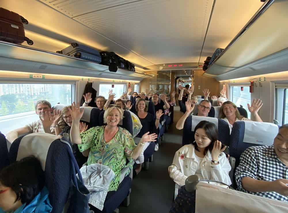 Onboard a bullet train in China