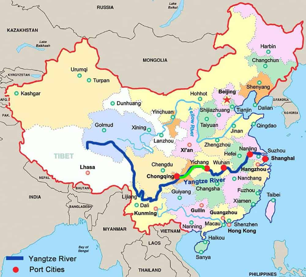Yangtze River on map