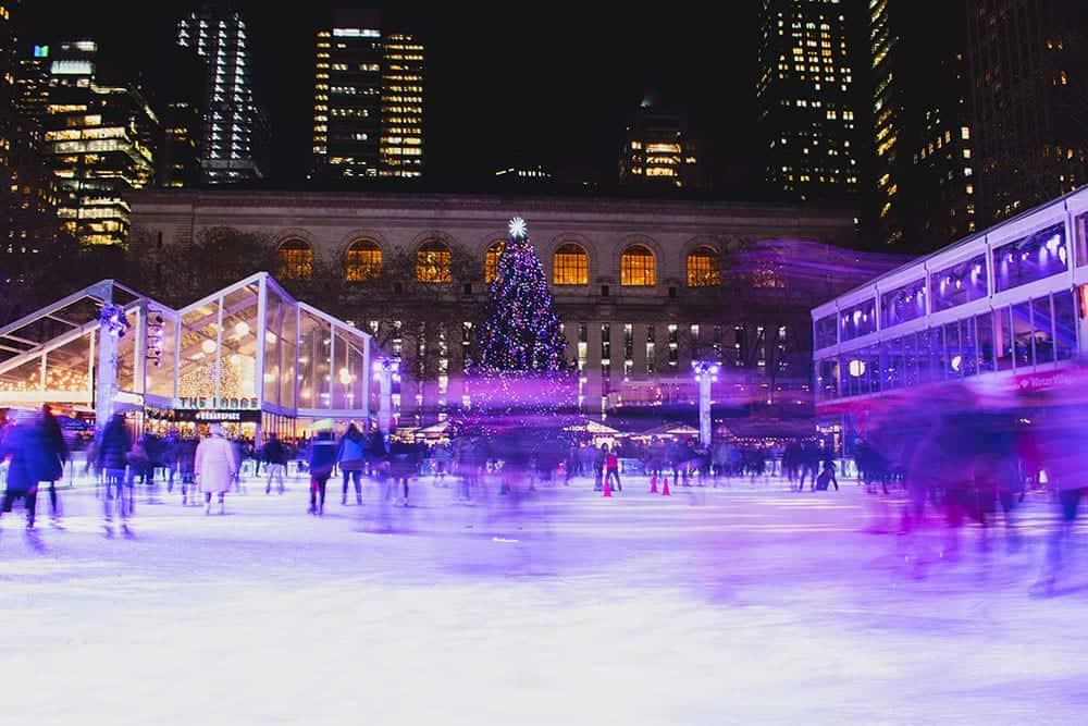 Ice skating at Bryant Park New York