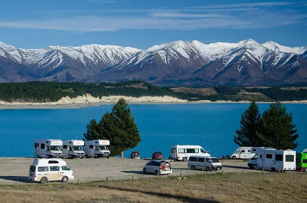 campervans at Lake Pukaki