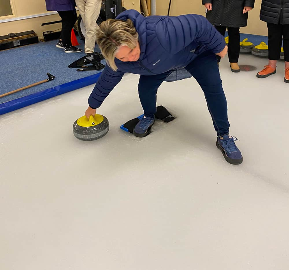 Megan trying curling