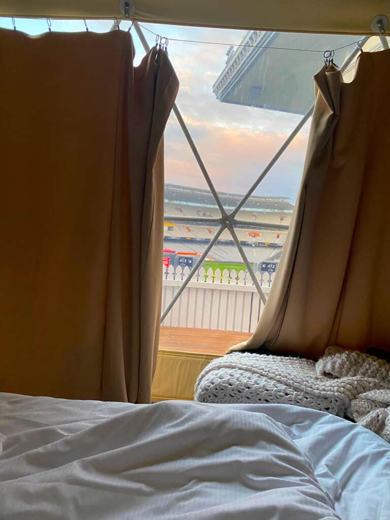 View from bed of Eden Park