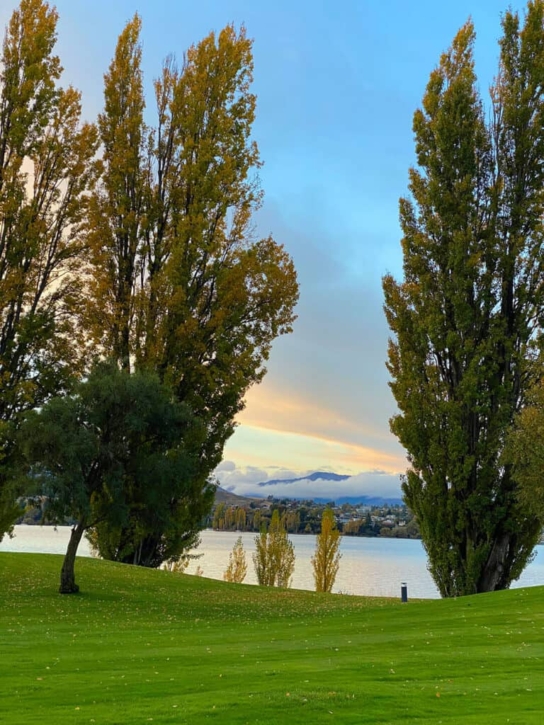 The view from my room at Edgewater Hotel across Lake Wanaka