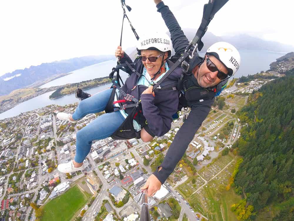 Kerrie paragliding in Queenstown