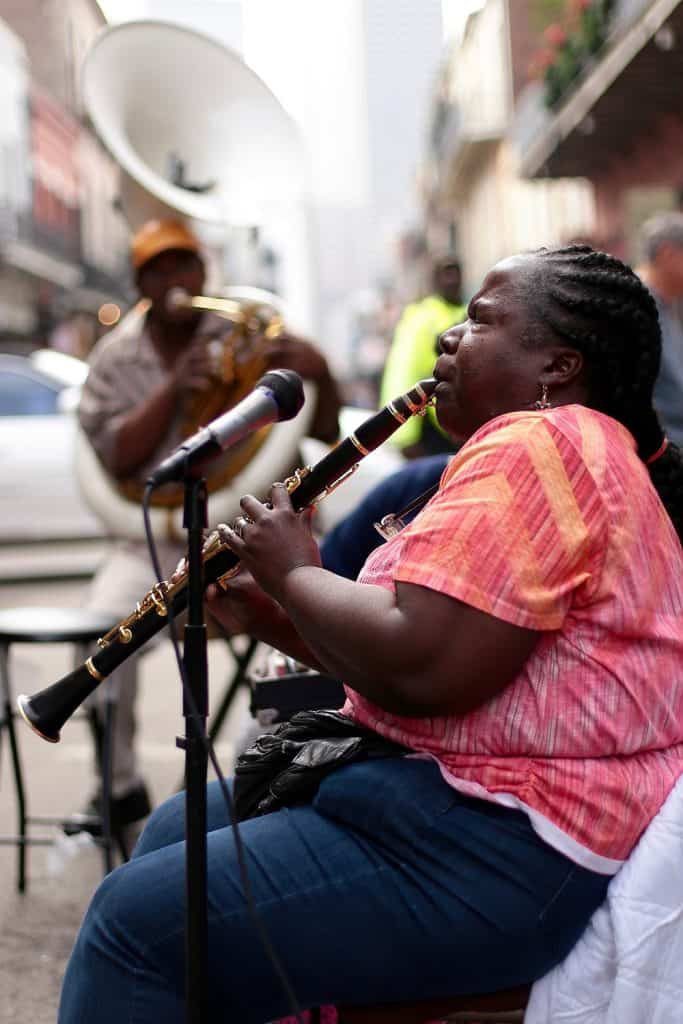 Doreen on clarinet in New Orleans