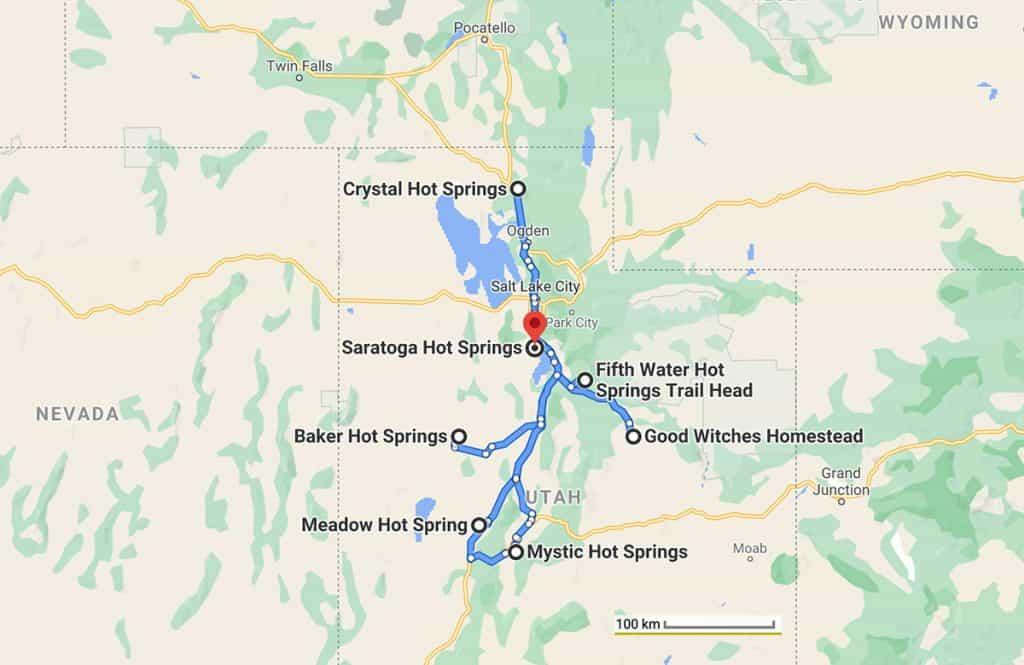 Utah hot springs on the map
