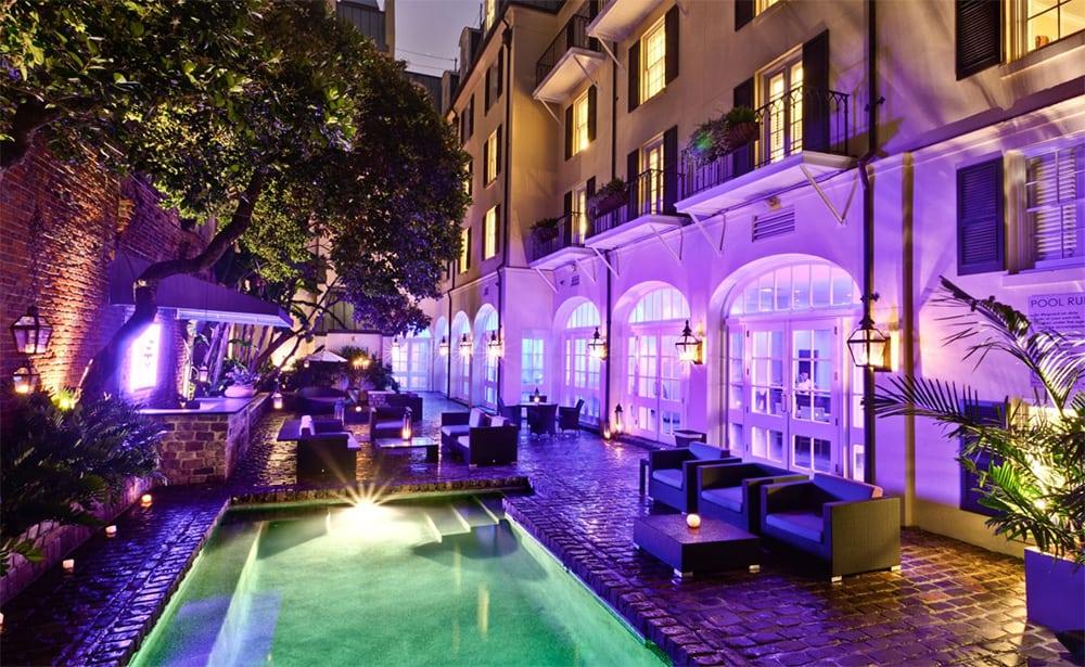 Hotel le Marais pool at night