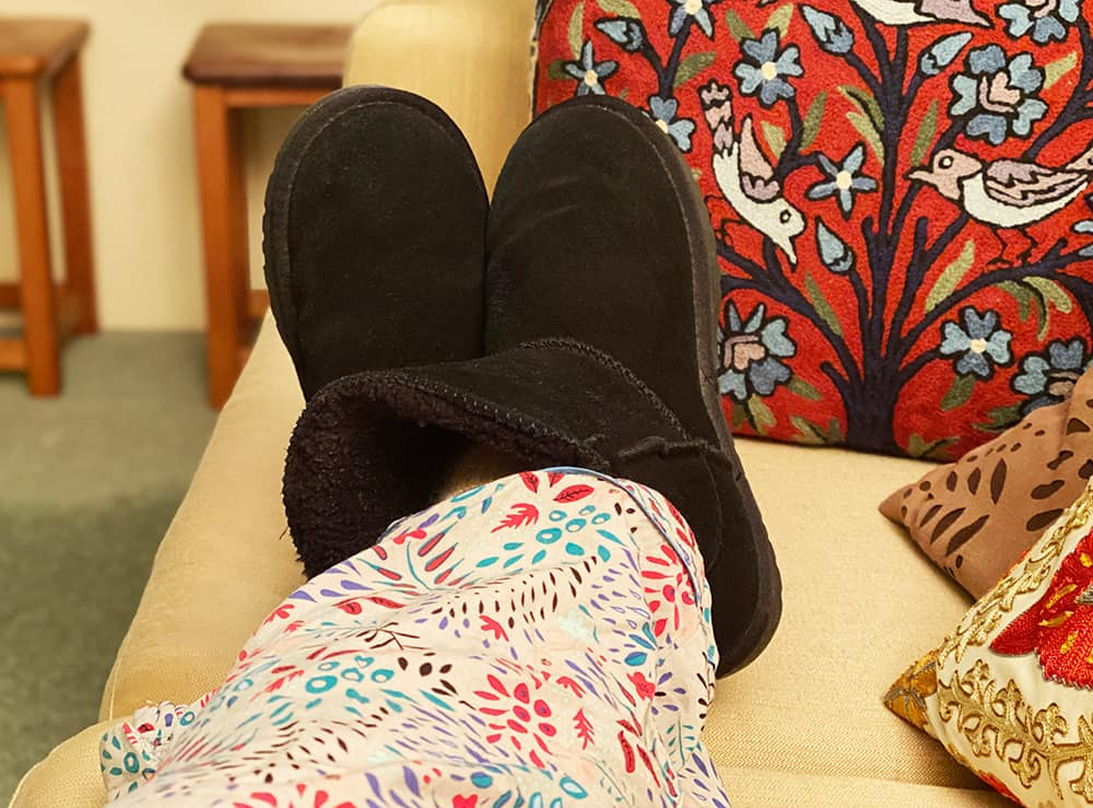 Ugg boots on couch