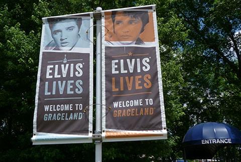 Elvis Presley welcome flags