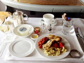 Emirates First Class Breakfast