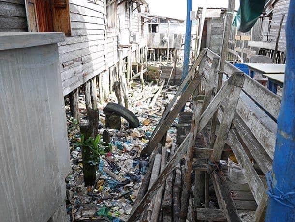 Filthy trash in fishing village