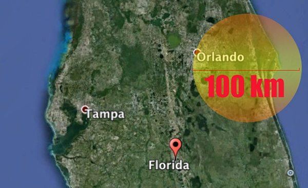 100km circle over Orlando