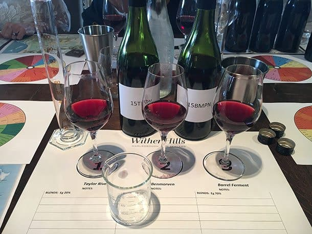 Blending wine at Wither Hills