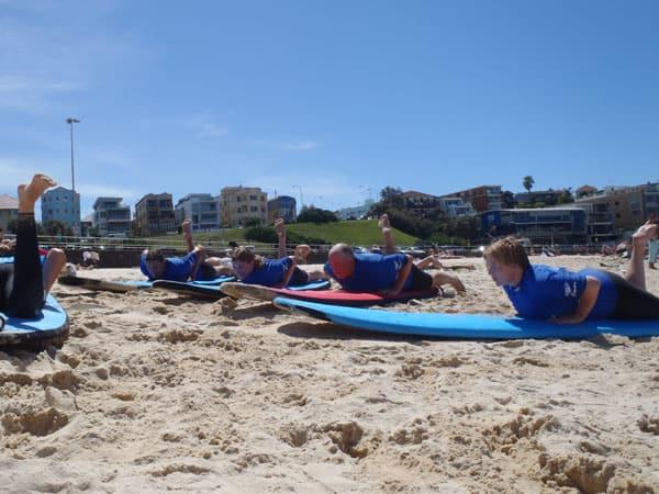 Learning to surf at Bondi beach